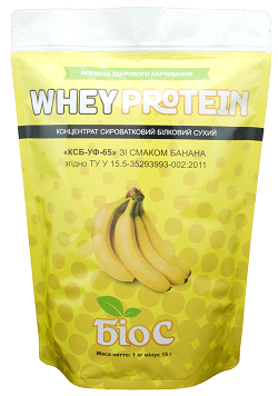 Whey Protein Concentrated 65% БіоС ™ со вкусом банана, 1.0кг