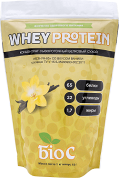 Whey Protein Concentrated 65% БіоС ™ со вкусом ванили, 1.0кг